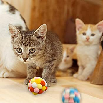6 Pièces Chat Balles Colorées avec Cloche, Chat interactif Jouet, Peluche Balle pour Chat Chaton