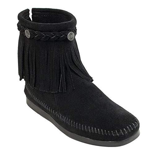 Minnetonka Women's High Top Back Zip Boots 7.5 M Black