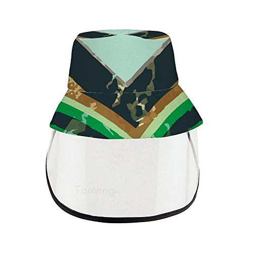Dreieckiger geometrischer Marmor Gesichtsschutz Hut abnehmbar Anti-Speichel Sonnenhut Vollgesicht Outdoor winddicht Fischermütze für Erwachsene Kinder