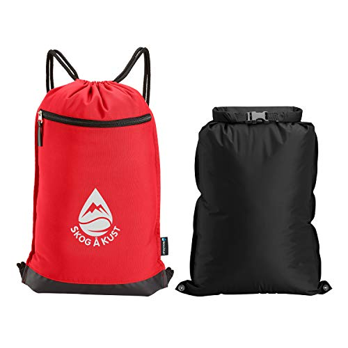 Skog Å Kust GymSak - 2-in-1 Drawstring Gym Bag with Removable Waterproof Bag | Features an Exterior Zippered Pocket with Key Clip and Reflective Logo | Premium Quality Cinch Sack in Red & Black