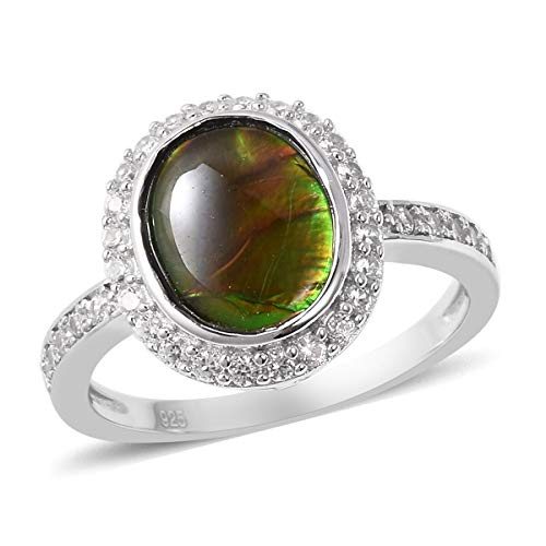TJC Ammolite Halo 925 Sterling Silver Ring for Women White Zircon Size N, 3.5 Ct