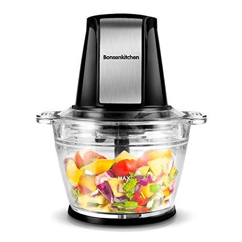 Electric Food Chopper Processor, Bonsenkitchen Food Grinder with 1L Glass Bowl, Sharp Blades for Mincing,Chopping, Grinding and Meal Prep, Easy Operation, 200W
