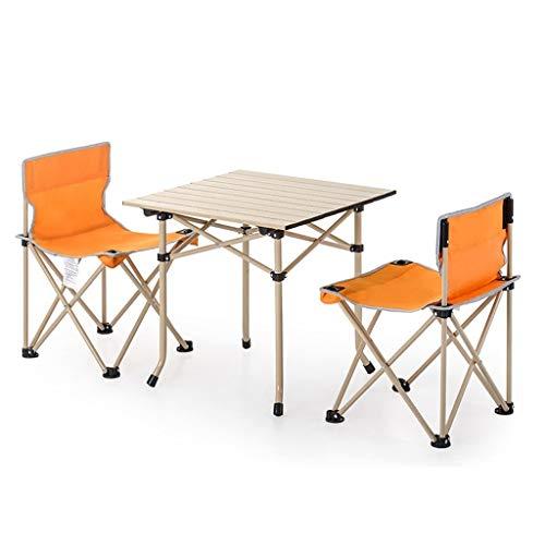 HLR Deckchairs Tragbar Faltbar Stühle Und Tischset, Draussen Camping Picknick Garten Grill, 2 Farben (Color : Orange)