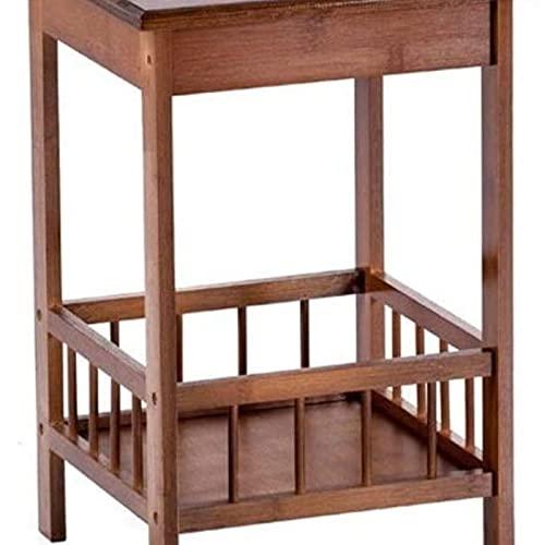 Mesa auxiliar del sofá, Mesas de café Material natural Mesa de bambú de bambú es ahora simple mesita de noche esquina de la sala de estar en la esquina organizadora de múltiples capas Fácil instalació
