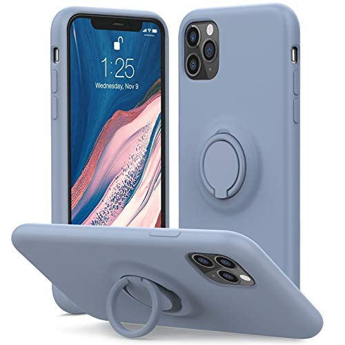 MHH for iPhone 11 Pro Max Case, Kickstand Silicone | Anti-Scratch | Silky-Soft Touch Full-Body Protective Case, Microfiber Liner Shock Absorption Gel Rubber (Lavender Grey)