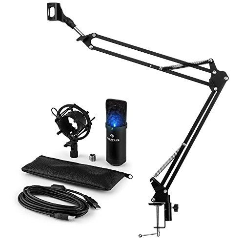 auna MIC-900B-LED Mikrofonset V3 Kondensatormikrofon + Mikrofonarm (USB-Mikrofon mit LED-Leuchte, Nierencharakteristik, schwarz, Mikrofonspinne, Mikrofonhalterung)