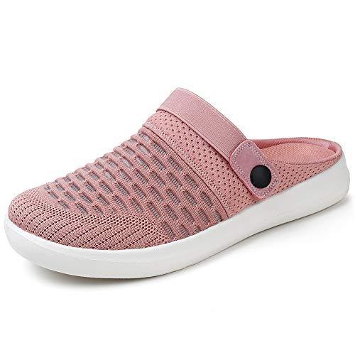 HKR Damen Clogs Hausschuhe Atmungsaktiv Pantolette rutschfest Gartenschuhe Sommer Sandalen Pink/EU 38