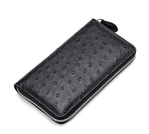 EEKUY lederen rits portemonnee, checkbook portemonnee grote capaciteit struisvogel lederen portemonnee heren portemonnees 7,7 × 4,13 × 0,91 inch