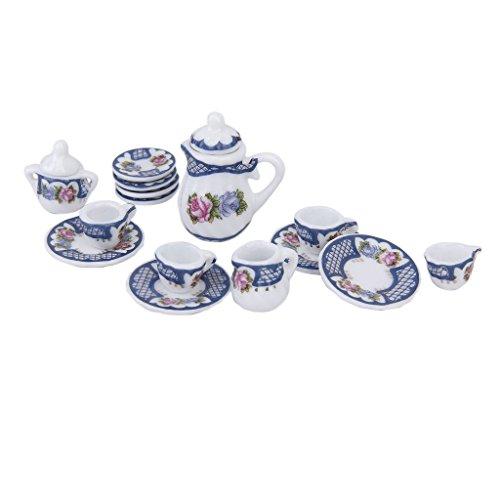 SODIAL(R) 15pcs Ustensiles de The Miniatures en Porcelaine pour Maison de Poupees