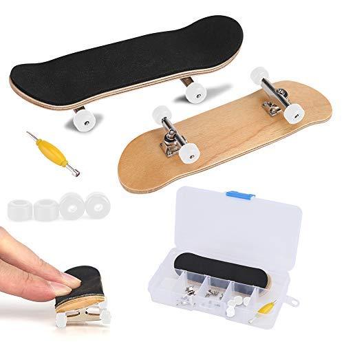 Finger Skate, Planche à Roulettes de Doigt Alliage Complet érable en bois Pont avec Boîte Réduire la Pression Cadeaux pour Enfants (blanc)