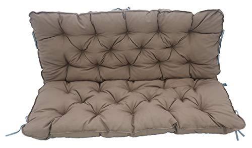Meerweh Coussin de banc avec assise et dossier avec bandes 120 x 98 cm