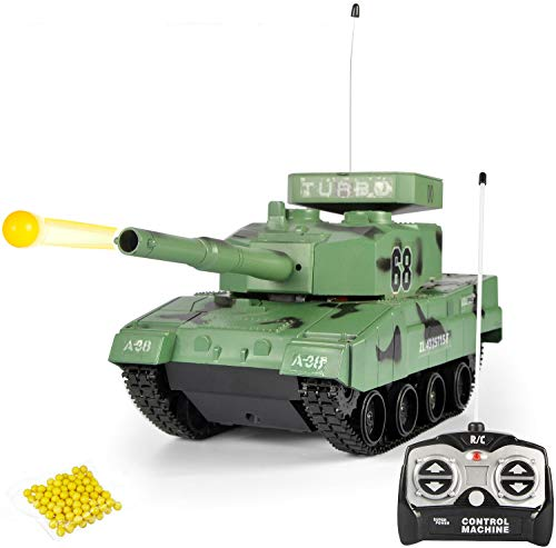 Liberty Imports RC Power BB Tank Radio Remote Control Military Battle Tank That Shoots Airsoft Bullets (Army Green)