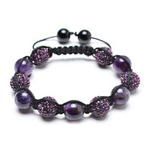 Bling Jewelry Púrpura Amatista Bola De Cristal Beads Shamballa Inspirado Pulsera para Hombres Y Mujer Cordón Negro Ajustable De Cadena