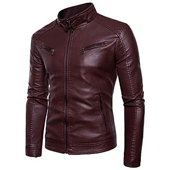 Men s Autumn Winter Tops Long Sleeved Leather Motorcycle Jacket Zipper Coat Red
