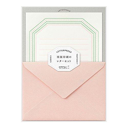 ミドリ レターセット 活版 フレーム柄 ピンク 86462006