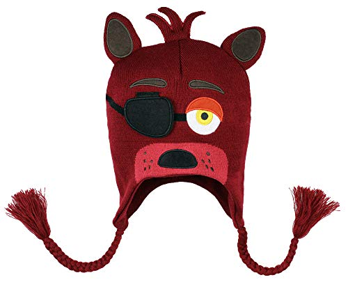 Five Nights at Freddy's Beanie Foxy Costume Beanie Hat w/Embroidered Face FNAF 3D Character Laplander Beanie