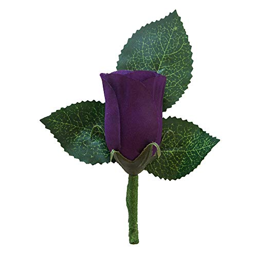 Boutonniere - Purple Rose Boutonniere with Pin for Prom, Party, Wedding