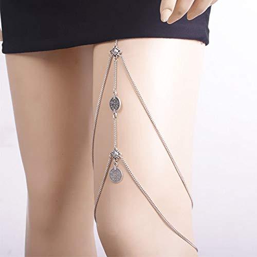 WEIYYY Cadenas para piernas Colgante de Monedas Arnés Cruzado Cadena para cinturón de Cintura Cadenas para piernas para Muslo Vintage Colgante para el Cuerpo, SAN190060SR