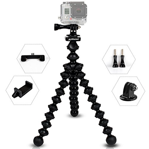MiPremium ProFlexPod G1 Flexible Tripod Stand kit with (Free Tripods Adapter, Dual Mount, Smartphone Clip), Tripod for GoPro Hero Session Black Silver, Smartphones & Action Sports Cameras
