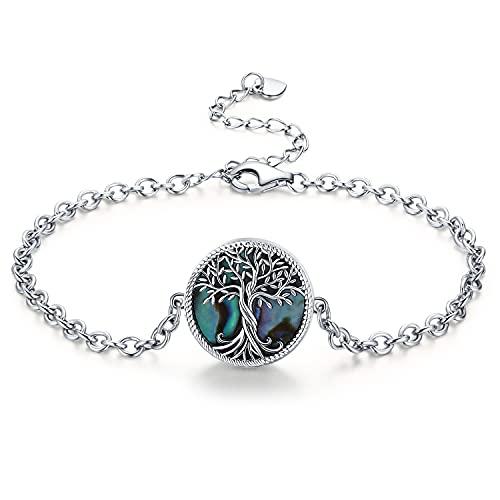 Pulsera de árbol de la vida, de plata 925, ajustable, para mujer, regalo de cumpleaños, día de la madre, regalo para mamá, árbol de la vida, pulsera de plata para regalo de 18 + 5 cm ajustable