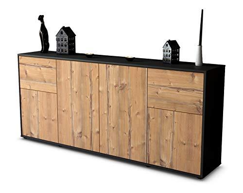 Stil.Zeit Sideboard Georgina/Korpus anthrazit matt/Front Holz-Design Pinie (180x79x35cm) Push-to-Open Technik
