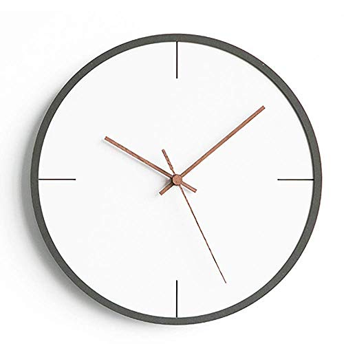 LKOER Simple Color Negro Redondo Hotel Dormitorio Estudio Sala de Estar decoración Reloj jinyang