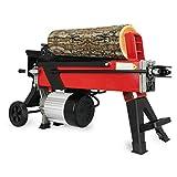 2200 W 7T Cortador de leña Divisor de troncos hidráulico rápido-longitud máxima de corte 520 mm- Diámetro de la capacidad del tamaño del registro: 50-250 mm,Rojo