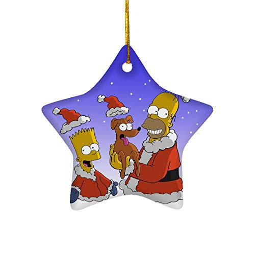 Skisun Christmas Star Ornament Simpson American Sitcom Bart Homer with Pet Dog Santa Hat Holiday Animated Comedy for Home Rooms Decor Tree Stars Ceramic 3in (1/2/3) pcs/Pack