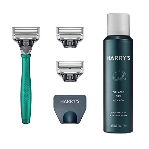 Harry's Razors for Men - Men's Razor Set with 3 Razor Blade Refills, Travel Blade Cover, 4 oz Shave Gel (Tropical Green)