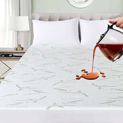 Ropa de Cama Utopía Premium 340 gsm 100% Impermeable Bambú Protector de colchón, Cubrecolchón, Transpirable, Estilo Ajustado Alrededor del elástico (90 x 190 x 30 cm)