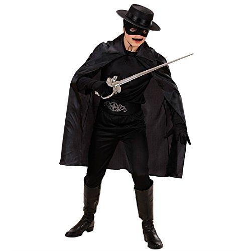 Amakando Cape Batman Court pour Enfant héro Manteau Noir Zorro 100 cm déguisement Robin Diable Enfer fête Carnaval