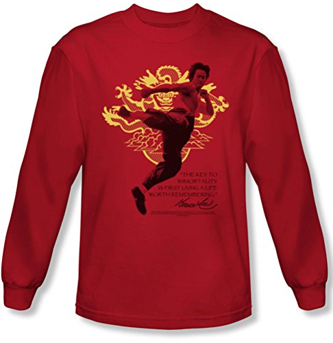 Bruce Lee - - Immortal dragon Tee shirt manches longues pour homme en rouge, Large, Red