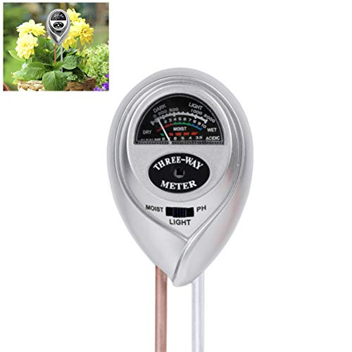 QQDEAL 4-in-1 Multifunktions-Bodentester inkl Batterien nicht im Lieferumfang enthalten pH-Messger/ät Licht-Tester mit LCD-Display Temperaturmessung Bodenhygrometer