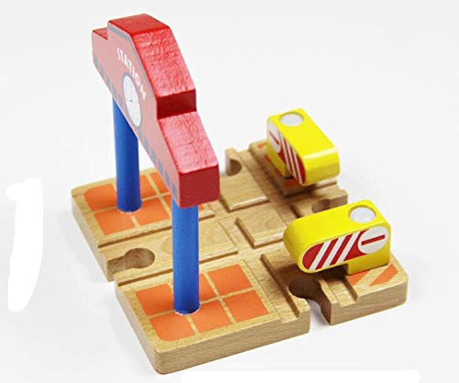 Generic Cross Station Track with Clock Train Slot Railway Accessories Toy for Kids EDWONE Cross Station