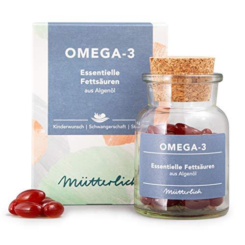 mütterlich Omega-3   Kapseln aus Algenöl mit DHA & EPA   Wichtige Ergänzung zu Folsäure Tabletten bei Kinderwunsch, Schwangerschaft und Stillzeit   hochdosiert   natürlich   vegan   60 Kapseln