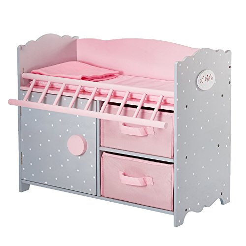 Olivia's Little World Pink Polka Dot Baby Doll Crib Wooden Doll Cot With Storage Doll Furniture UK-TD-12390A