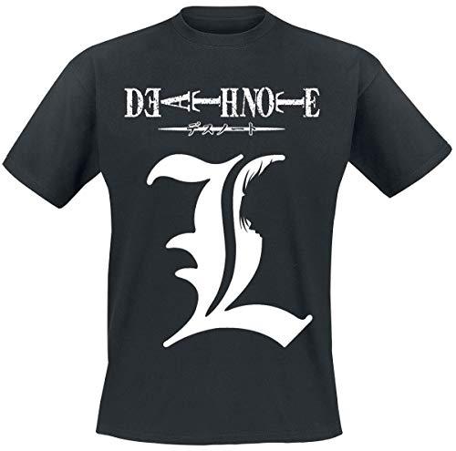 Death Note Shadow of L Männer T-Shirt schwarz L 100% Baumwolle Anime, Fan-Merch, Film, TV-Serien