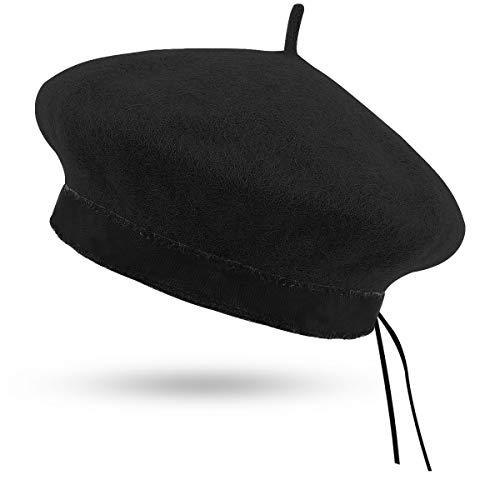 Kodior Damen Baskenmützen - 1/2 Französische Baskenmütze Klassische Barette Warme Einfarbig Baskenmütze Hut Verstellbar Barett Mütze Herbst Winter (Schwarz)