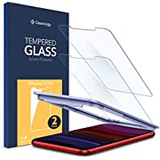 Caseology, 2 Pack, iPhone 11 / iPhone XR Screen Protector, 9H Glass Auto-install Technology Case Friendly Face ID Compatible, Tempered Glass for iPhone XR/iPhone 11 Screen Protector