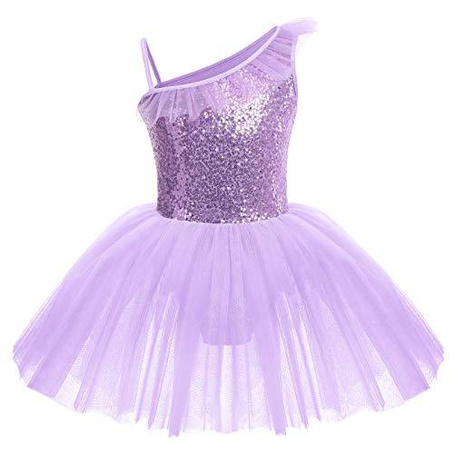 IWEMEK Abbigliamento da danza per bambini, senza maniche, con paillettes e paillette, per danza, balletto, danza e danza, 3-10 anni viola. 5-6 Anni