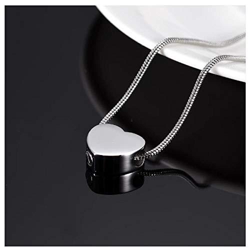 Wxcvz Collar de urna de cremación grabable Mini corazón Pulsera de urna de cremación encantos para conmemoración, Collar de urna de corazón de 13 mm para Cenizas