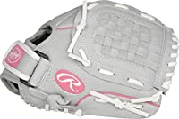Rawlings Sure Catch Series Fastpitch Softball Glove, Pink/Grey/White, Right Hand Throw, SCSB105P-6/0 10 1/2 BSK/NFC