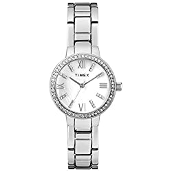 Silver-Tone/MOP Analog Bracelet Watch with Swarovski Crystals