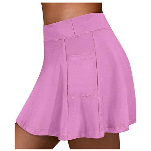 jieGorge Falda, Faldas de Tenis para Mujer Pantalones Cortos Interiores de Yoga para Correr Pantalones Deportivos elásticos Bolsillos de Golf Hakama, Ropa Zapatos y Accesorios (Rosa L)