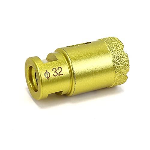 Snowtaros Broca de Diamante, Diámetro 32mm, Corona de Perforación de Diamante M14 para Amoladora Angular, para Porcelana, Azulejos, Granito, Gres, Mármol, en Seco (32mm)