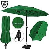 Kesser Sonnenschirm Doppelsonnenschirm | Gartenschirm | Marktschirm | Terrassenschirm mit Handkurbel | Oval | Aluminium | UV-beständig | wasserabweisenden Grün