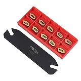 KKmoon Utensili da Tornio SPB26-3 Utensile da Taglio per Scanalatura da 26 mm con Inserti in Metallo Duro 10 Pezzi GTN-3 SP300