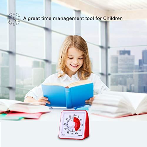 Yunbaoit Minuteur analogique 60minutes, compte à rebours, tic-tac discret, outil de gestion du temps pour enfants et adultes, ABS
