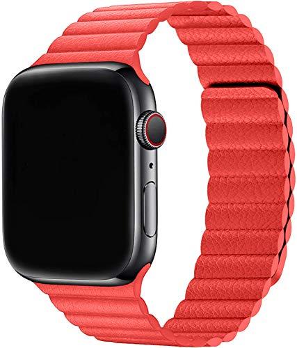 Firsteit Compatible con Apple Watch correa de cuero de 44 mm, 42 mm, 40 mm, 38 mm, correa ajustable con cierre magnético para iWatch Series 6/5/4/3/2/1/SE (rojo, 38 mm/40 mm)