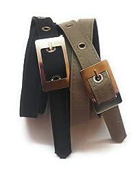 generic XXXL OVERSIZE PLUS SIZE LONG ladies formal casual denim material jeans belt 2pcs black and buiscuit